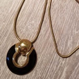 Gold/ black long necklace
